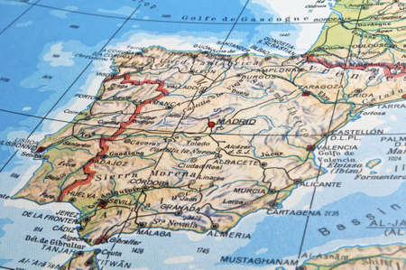 Map of Spain with details of main cities, rivers and mountains.