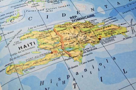 Map of Hispaniola Island, Dominican Republic and Haiti.