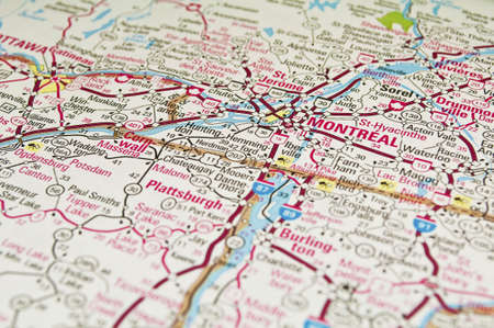 Road map of the Montreal City area, Quebec, Canada. Stock Photo