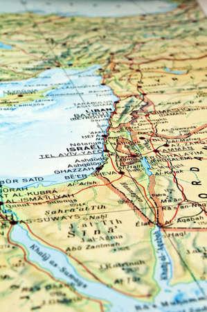イスラエル共和国レバノンの領域に焦点を当てると中東の地図。 写真素材
