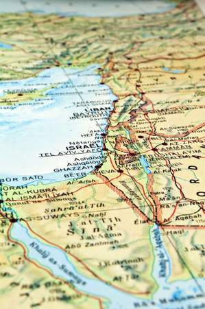Middle East map with focus on the Israel Lebanon area.