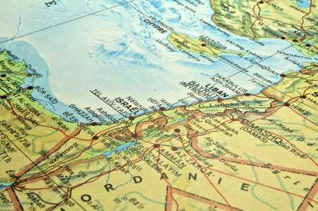 De kaart van het Midden-Oosten, Israël Libanon Egypte conflictgebied.