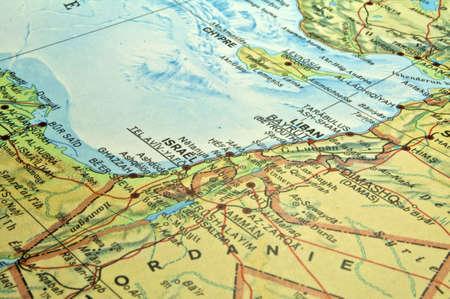 Middle East map, Israel Lebanon Egypt conflict area. Фото со стока - 6605845
