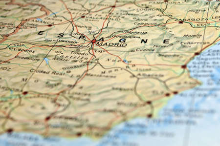 Road map of Spain, focus on Madrid City.
