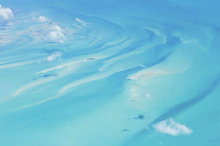 Unique aerial view of the sea around the exotic Bahamas.