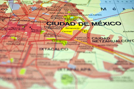 Road map of Mexico City and surrounding areas.