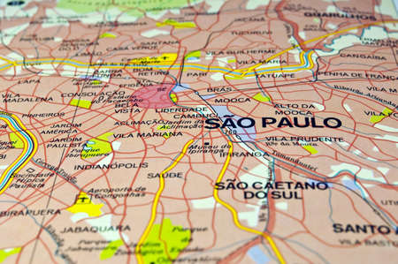 Road map of Sao Paulo City, Brazil.