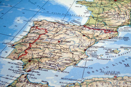 Map of Spain, Portugal and part of France.