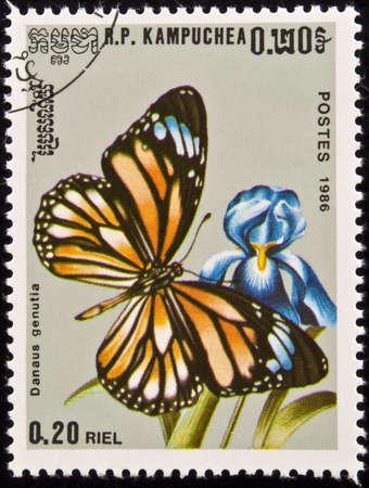 danaus: Kampuchea stamp. Danaus genutia butterfly on flower.