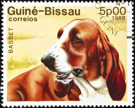 philately: Guine-Bissau postage stamp featuring a basset dog.