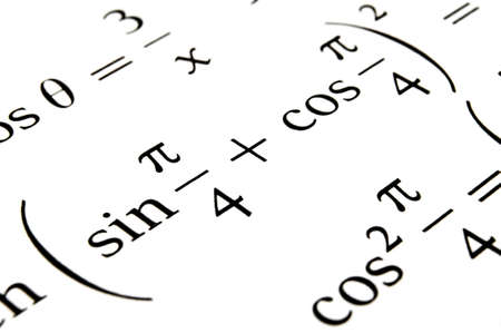 cosinus: Close up of a textbook with algebra formulas and problems. Stock Photo
