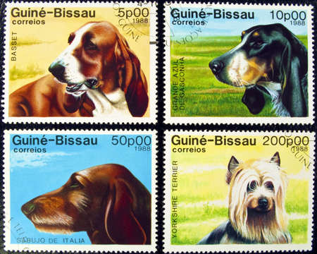Guine-Bissau postage stamps featuring four different dog breeds.