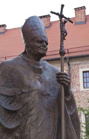Statue of John Paul II in Krakow, Poland. 版權商用圖片