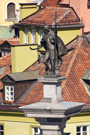 Statue of Zygmunt III Vasa at the top of the Zygmunts column in Old Town Warsaw, Poland.