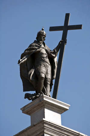 Statue of Zygmunt III Vasa at the top of the Zygmunts column in Warsaw, Poland.