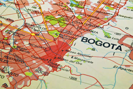 Road map of Bogota City and surrounding areas, Colombia.