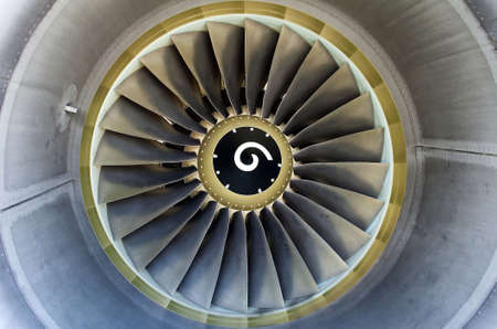 aeronautical: Close up of a turbofan jet engine in modern airliner. Stock Photo