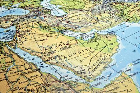 Mapa de la península arábiga y países de la región del mar rojo.