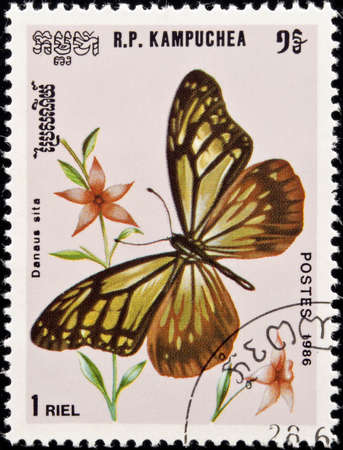 philately: Kampuchea -  circa 1986:postage stamp features a Danaus Sita butterfly, circa 1986 in Democratic Kampuchea.