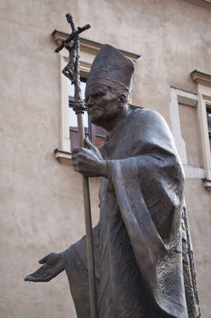 Statue of John Paul II in Krakow, Poland. Stock Photo