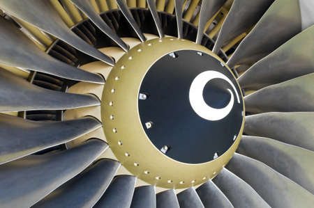 are thrust: Close-up of a turbofan jet engine in modern airplane. Stock Photo