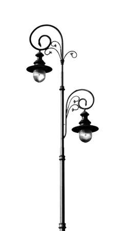 Old fashioned street lamp isolated on white background.