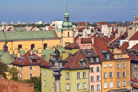 Houses and church in the Old Town of Warsaw,Poland.