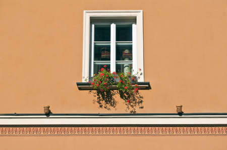 old building facade: Detail of an old window with colorful flowers.