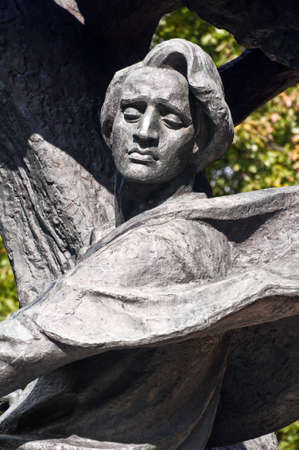 Warsaw, Poland - October 2010: Monument features musician Frederic Chopin seeking inspiration under a willow tree, October 2010 in Warsaw, Poland.