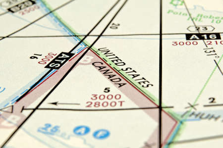 Air navigation map detail: airspace boundary between Canada and the United States.