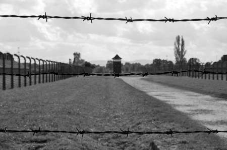 nazism: Fence at Auschwitz concentration camp in Poland. Stock Photo