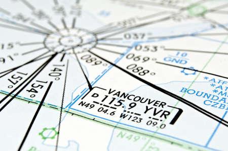 Air navigation map detail: Vancouver area, Canada. Stok Fotoğraf