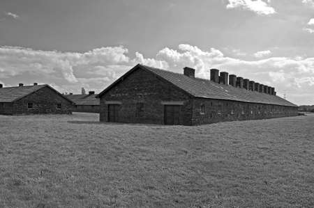 barrack: Prisoners barracks at the Auschwitz Birkenau concentration camp in Poland.