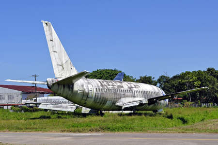 abandoned: Old, abandoned passenger airplane.