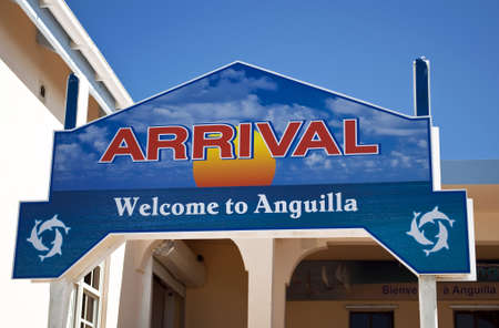 anguilla: Welcome arrival sign in the caribbean island of Anguilla.