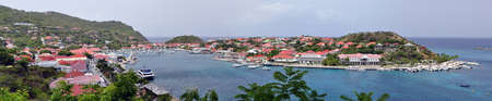 Panoramic view of Gustavia, Saint Barthelemy, French Antilles.