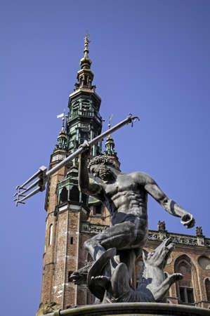 Neptune's fountain in the Old Town of Gdansk, Poland. Archivio Fotografico