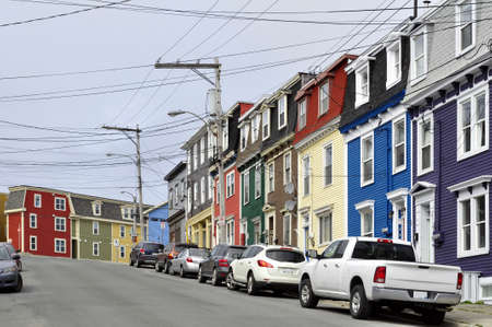 Row of colorful houses in the city of Saint Johns, Newfoundland, Canada.