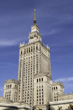 culture: Palace of Culture and Science, tallest building in Warsaw, Poland.