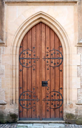 Gothic door at medieval castle in Europe