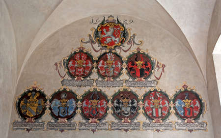 Display of medieval coats of arms, Prague Castle  photo
