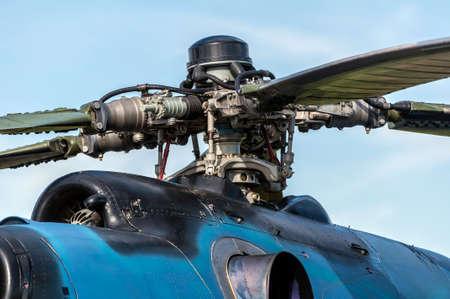ヘリコプター エンジン回転子のクローズ アップ表示