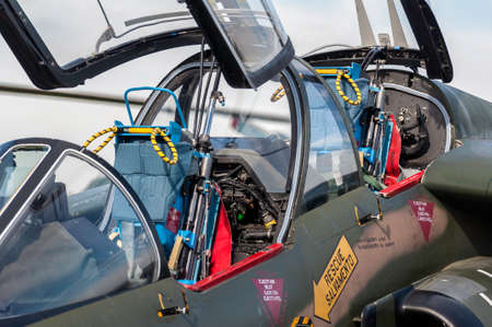 Detailed view of a fighter jet airplane cockpit