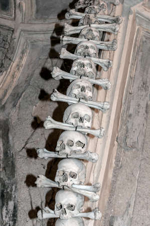 Human bones at the Kutna Hora ossuary, Czech Republic  photo