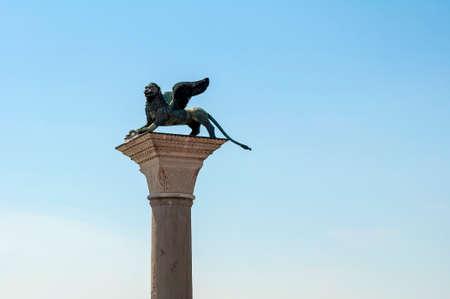 leon con alas: León de la columna de San Marcos, Venecia, Italia