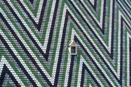 Detailed view of colorful wooden roof shingles  photo