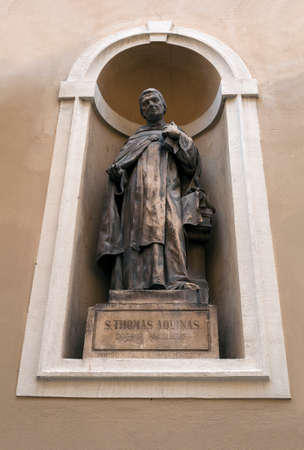 thomas: Statue of St Thomas Aquinas in Ljubljana, Slovenia  Stock Photo