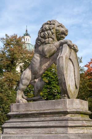 rampant: Rampant lion at the Mausoleum of Aleksandra and Stanislaw Kostka Potocki in Wilanow, Warsaw