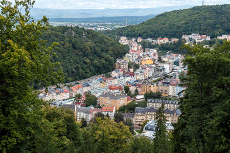 karlovy: High angle view of the spa town of Karlovy Vary. Stock Photo