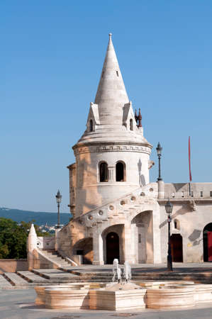 bastion: View of the Fishermans Bastion in Budapest. Editorial